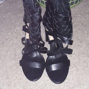 Black Woven Heels